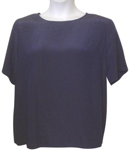 Kathie Lee Collection Navy Silky Shirt Top Blue