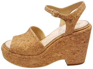 Chanel Cork Ankle Strap Wedge Brown Platforms