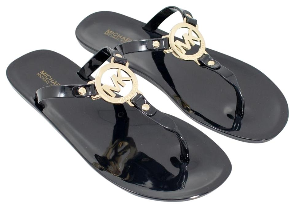 fe84f20de38c Michael Kors Black Mk Jelly Flip Flop Sandals Size US 8 Regular (M ...