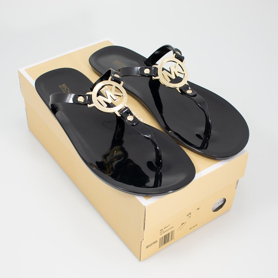 0f1e57fad88 Michael Kors Black Mk Jelly Flip Flop Sandals Size US 8 Regular (M ...