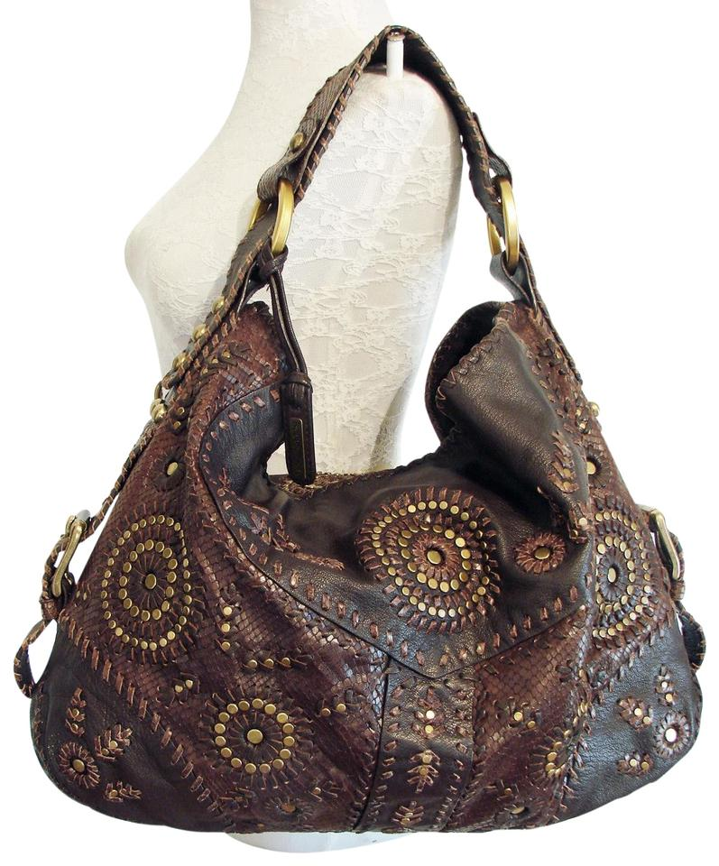 5a0d6f95023 Isabella Fiore Kool Whip Yvonne Large Stud 2006 Brown Leather Hobo ...