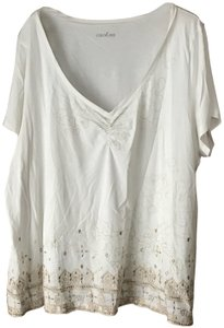 Caslon Abstract Flowers Short Sleeves V-neck Cotton Tunic
