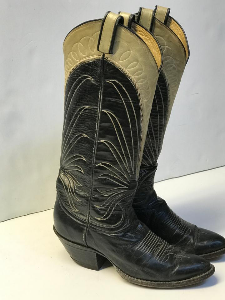 f82b573f779 Lucchese Grey Black Vintage 80's Women's Distressed Western Wear Ladies  Womens Boots/Booties Size US 8 Regular (M, B)