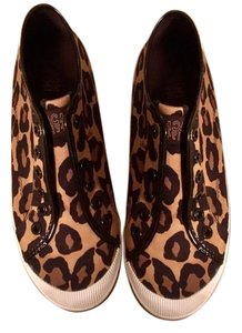 a37f8ab70463 Coach Animal Print Patent Leather Canvas Monogram Brown Leopard Flats