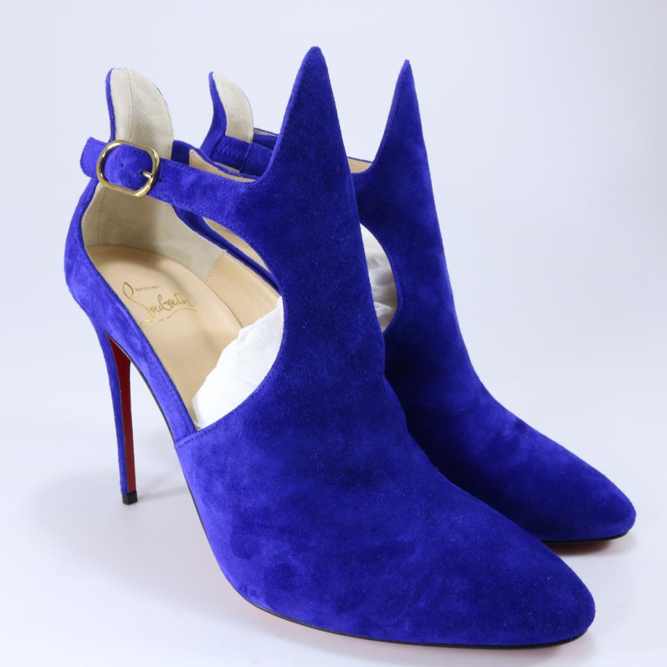 9a08b739b77a Christian Louboutin Blue Azulejo Suede Canadada Open 100mm Ankle B577 Boots Booties  Size EU 39 (Approx. US 9) Regular (M