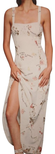 Item - Sylvia (Cream with Floral and Script Motif) Nwot Cam Long Cocktail Dress Size 4 (S)
