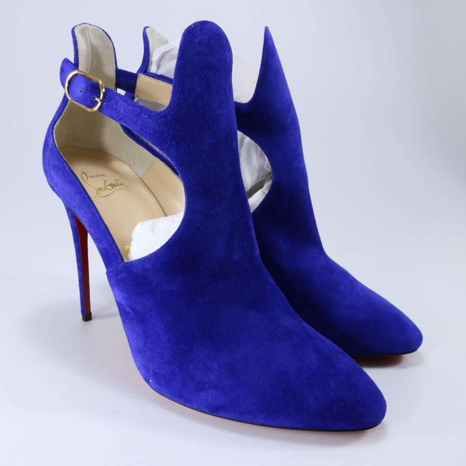 767be2a6a6c4 Christian Louboutin Blue Azulejo Suede Canadada Open 100mm Ankle B576 Boots Booties  Size EU 40 (Approx. US 10) Regular (M