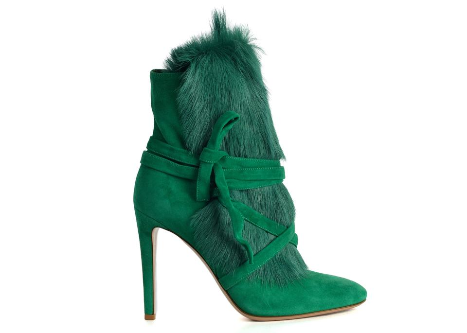 Gianvito Rossi Green Womens Moritz Shearling Suede Ankle C3414 Boots Booties 8f3b34d4f