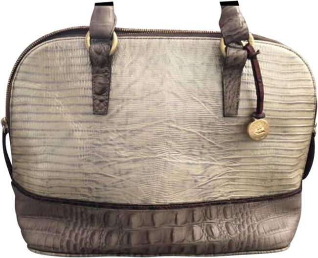 Item - Bag. Handles Excellent Condition W/ No Wear & Tear. Durable Nice Aligator Look At Bottom. Gray Cream Little Bit Of Dark Brown Trim W/ Gold Accent. Leather Tote
