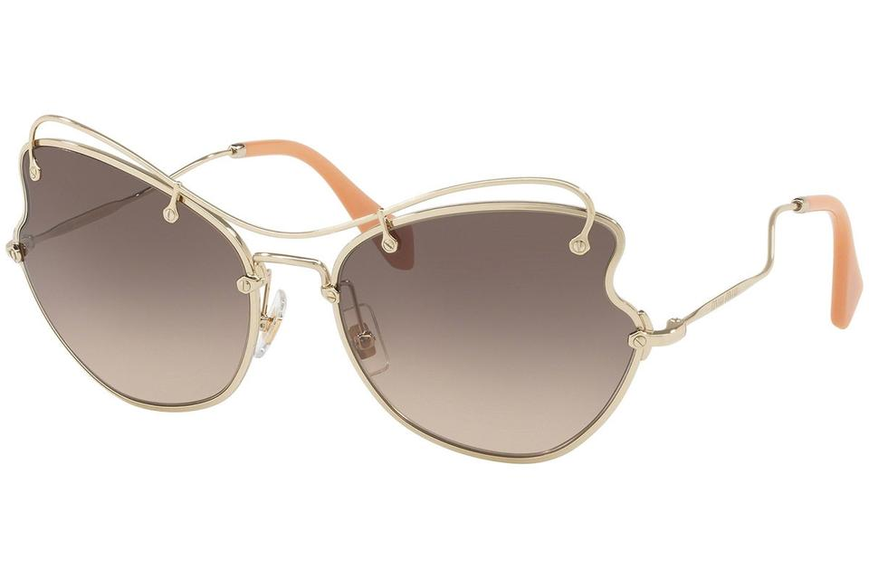 12791561c03a5 Miu Miu Pale Gold Frame   Brown Gradient Lens Mu56rs Zvn3d0 Butterfly Style  Women s Sunglasses