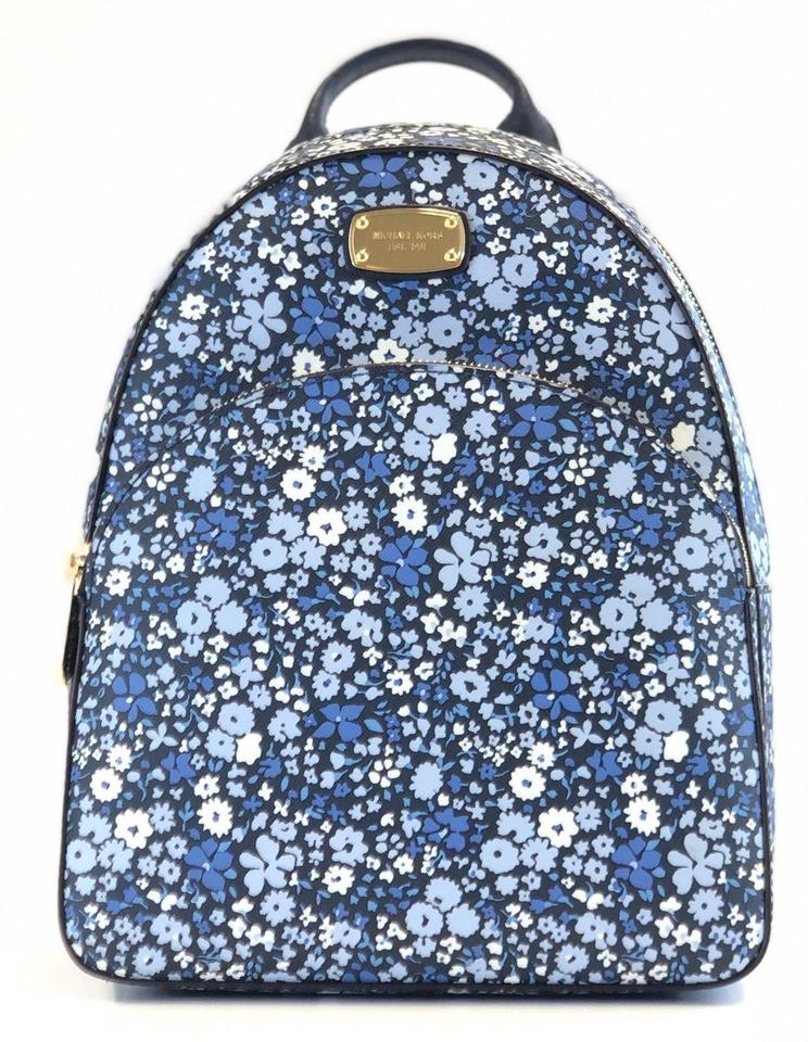 1a112d834be2 Michael Kors Womens Abbey Medium Blue Floral Navy Leather Pvc Backpack