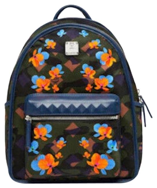 Item - Womens Small Floral Butterfly Print Loden Green Ba Multi Color Nylon Backpack