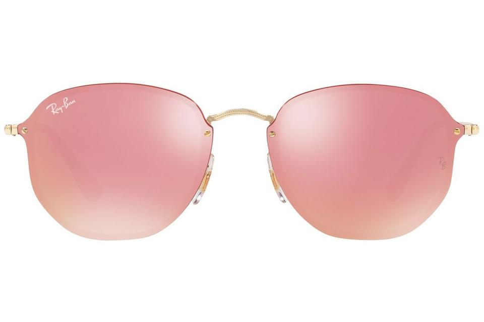 a325a51c8d Ray-Ban Blaze Hexagonal Gold Frame   Pink Mirrored Lens Rb3579n 001 E4  Square Style Unisex Sunglasses - Tradesy