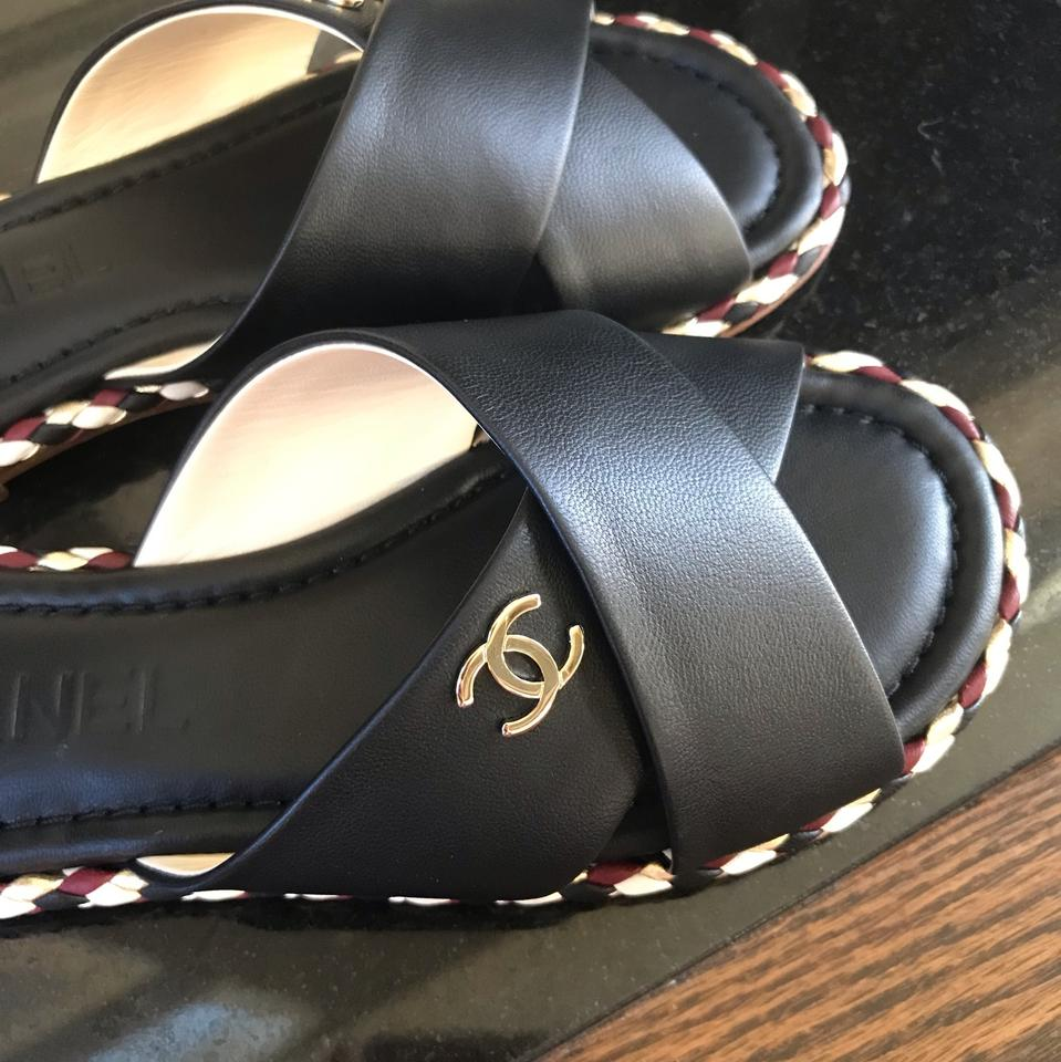 d7fa3f5b1728 Chanel Black Leather Slides Flats Mules Sandals Size EU 35 (Approx. US 5)  Regular (M