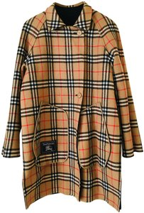 Burberry Wool/Cashmere Black/Vintage Check Pea Coat