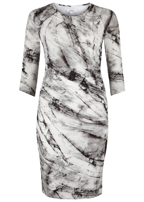 Item - Gray Multi Jersey Terrene Print Ruched Mid-length Night Out Dress Size 8 (M)