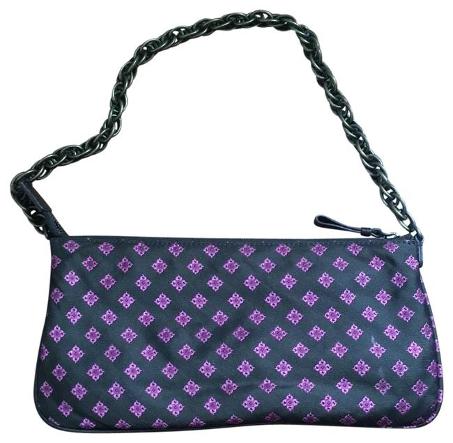 Item - Fabric with Link Chocolate Brown Fuchsia Detail Brushed Gold Chain Twill Wristlet