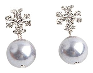Tory Burch Tory Burch Small SILVER Crystal Pave Pearl Drop Earrings 16k Gray