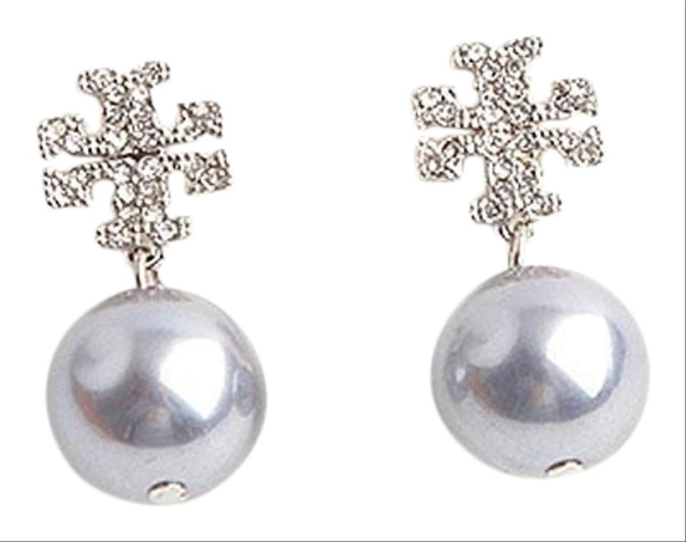 45b720c06a69 Tory Burch Silver Small Crystal Pave Pearl Drop 16k Gray Earrings ...