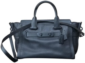 Coach Swagger Leather Satchel in Black on Black