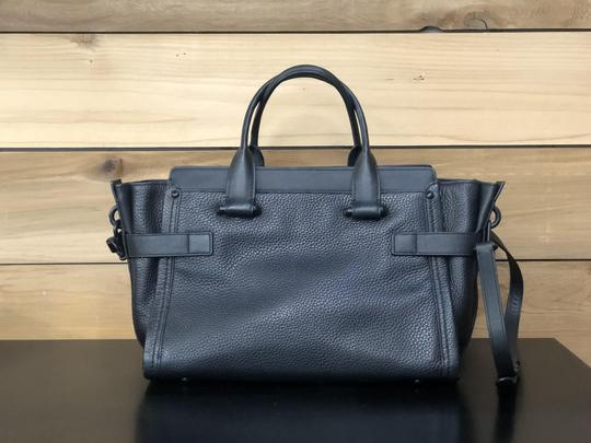 Coach Swagger Leather Satchel in Black on Black Image 1