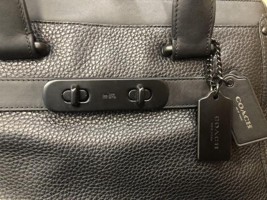 Coach Swagger Leather Satchel in Black on Black Image 4