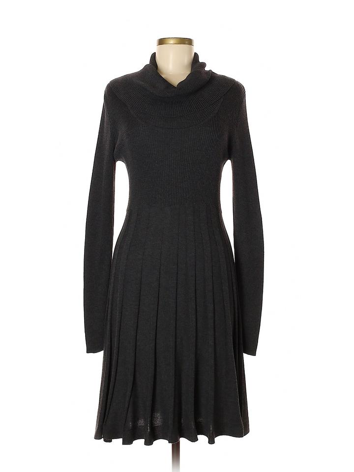 11323903c6 Calvin Klein short dress Gray Sweater Knit A-line Cowl Pleated on Tradesy  Image 0 ...