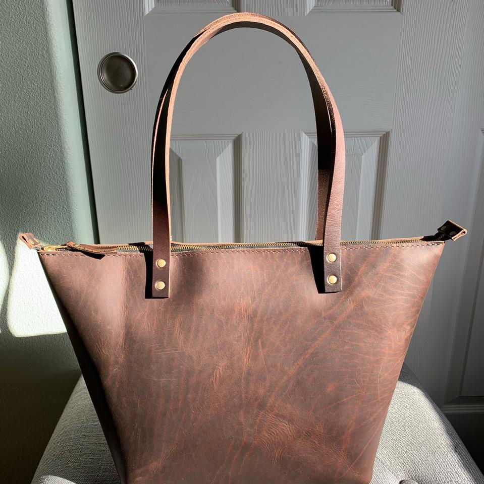 365fb02a7905 Grizzly Zipper Tote Brown Leather Shoulder Bag - Tradesy