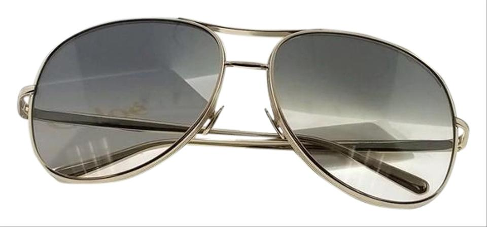 Chloé CE127S-768-61 Pilot Women s Gold Frame Blue Lens Genuine Sunglasses  ... 3f52823fe6