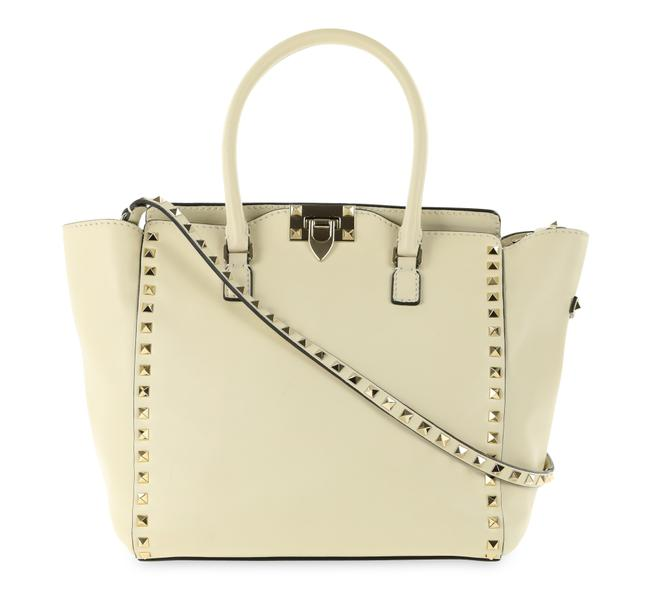 Item - Rockstud Double Handle Ivory White Leather Tote