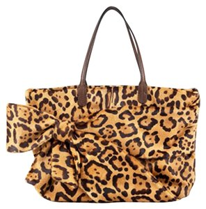Valentino Calf Hair Leopard Animal Print Bow Tote in brown multi