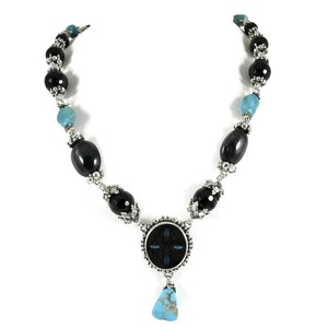 """Stephen Dweck Stephen Dweck Sterling Silver 18"""" Onyx Turquoise Multi Stone Necklace"""