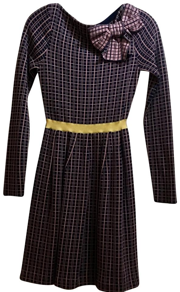 RED Valentino Navy Blue   Pink   Yellow Long Sleeve and Knit Oversize Bow  Work Office Dress d1b77e590