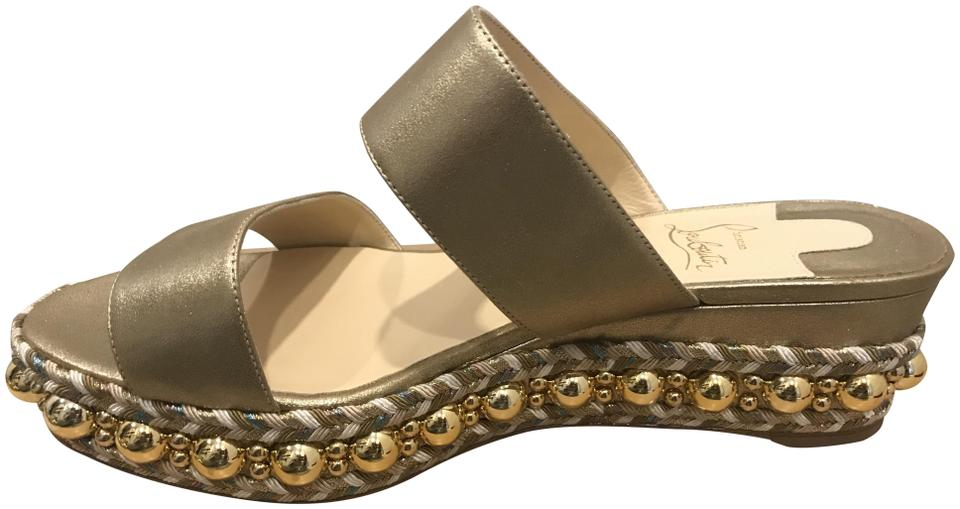 3dad3341634 Christian Louboutin Gold Janitag Studded Double Strap Jute Sandals Platforms