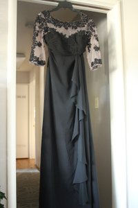 Alfred Angelo Black Lace and Other Of The Bride Formal Bridesmaid/Mob Dress Size 10 (M)