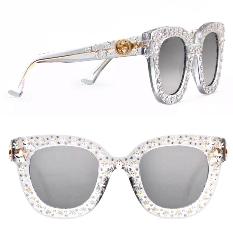 a0a3699a871 Gucci Clear White Stars Embellished Cat Eye Gg0116s Sunglasses - Tradesy