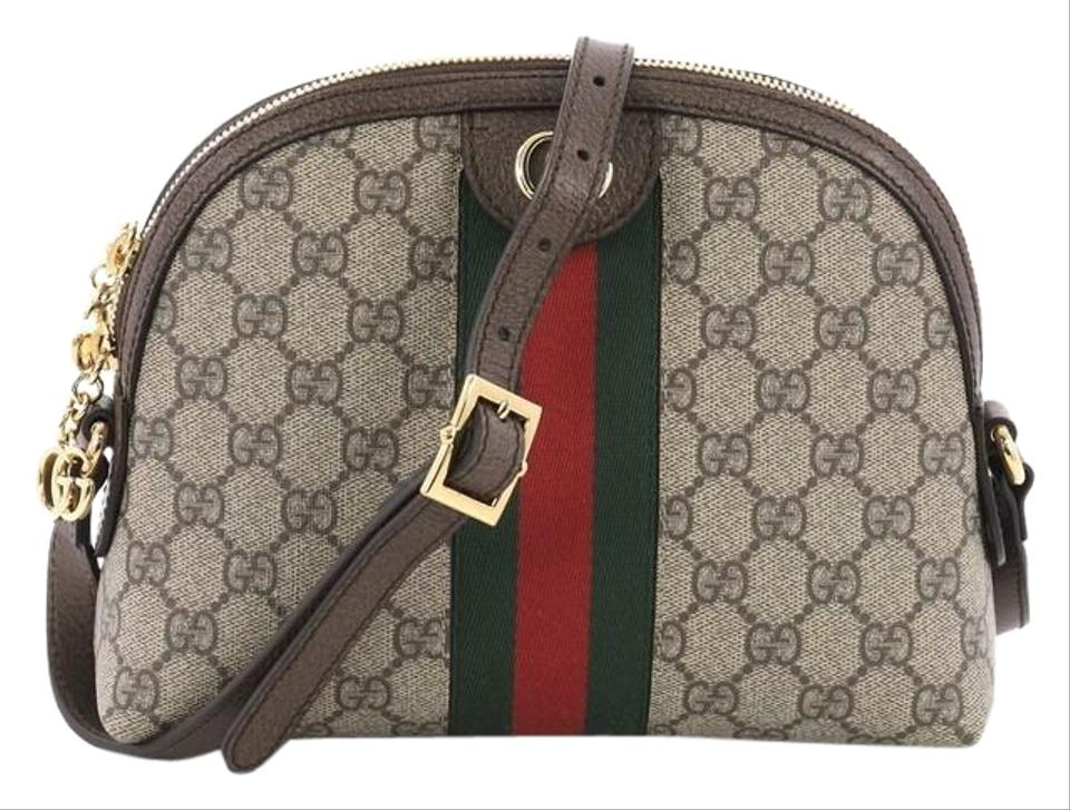 e11baa43258 Gucci Dome Ophidia Gg Coated Small Brown Canvas Shoulder Bag - Tradesy
