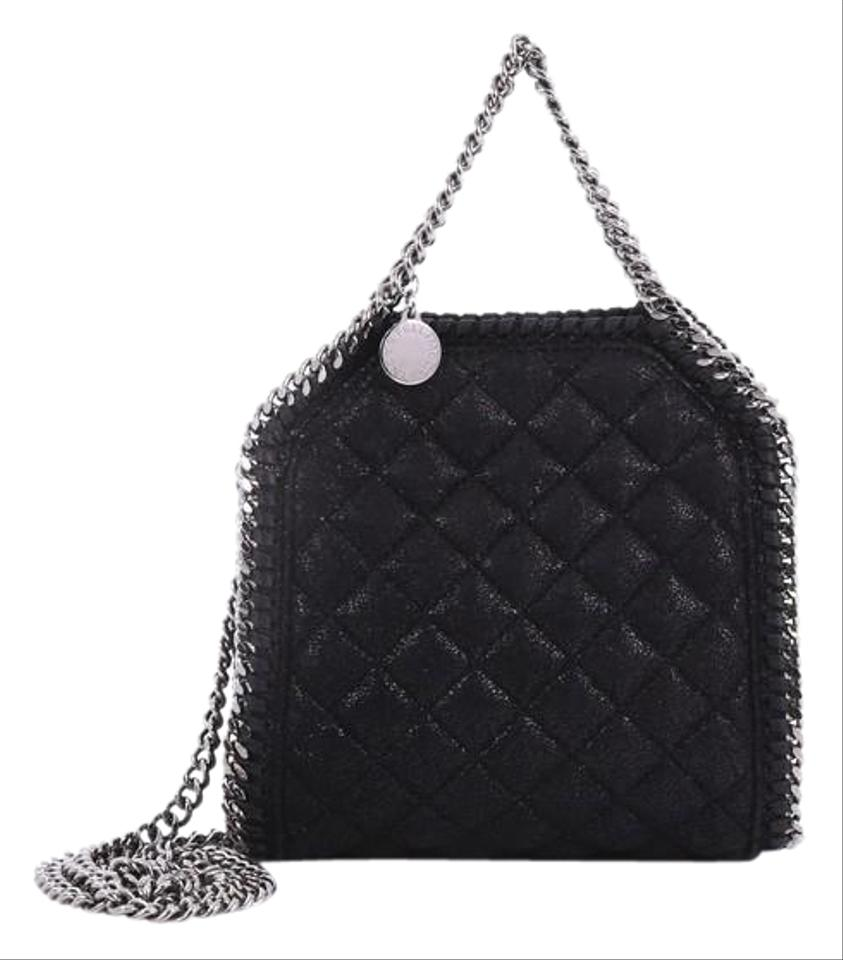 Stella McCartney Falabella Fold Over Quilted Black Shaggy Deer Cross Body  Bag 52ec100cf6
