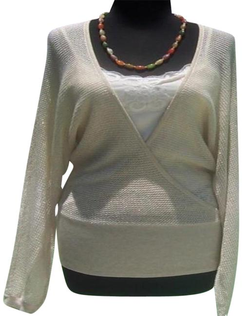 Item - Knit Metallic Peek A Boo Faux Wrap New Banded Bottom 4/6 S Gold Sweater