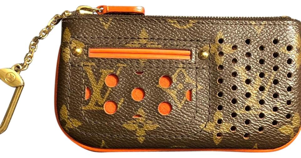 d3e2f964 Louis Vuitton Orange Pochette Monogram Perforated Cles Wallet