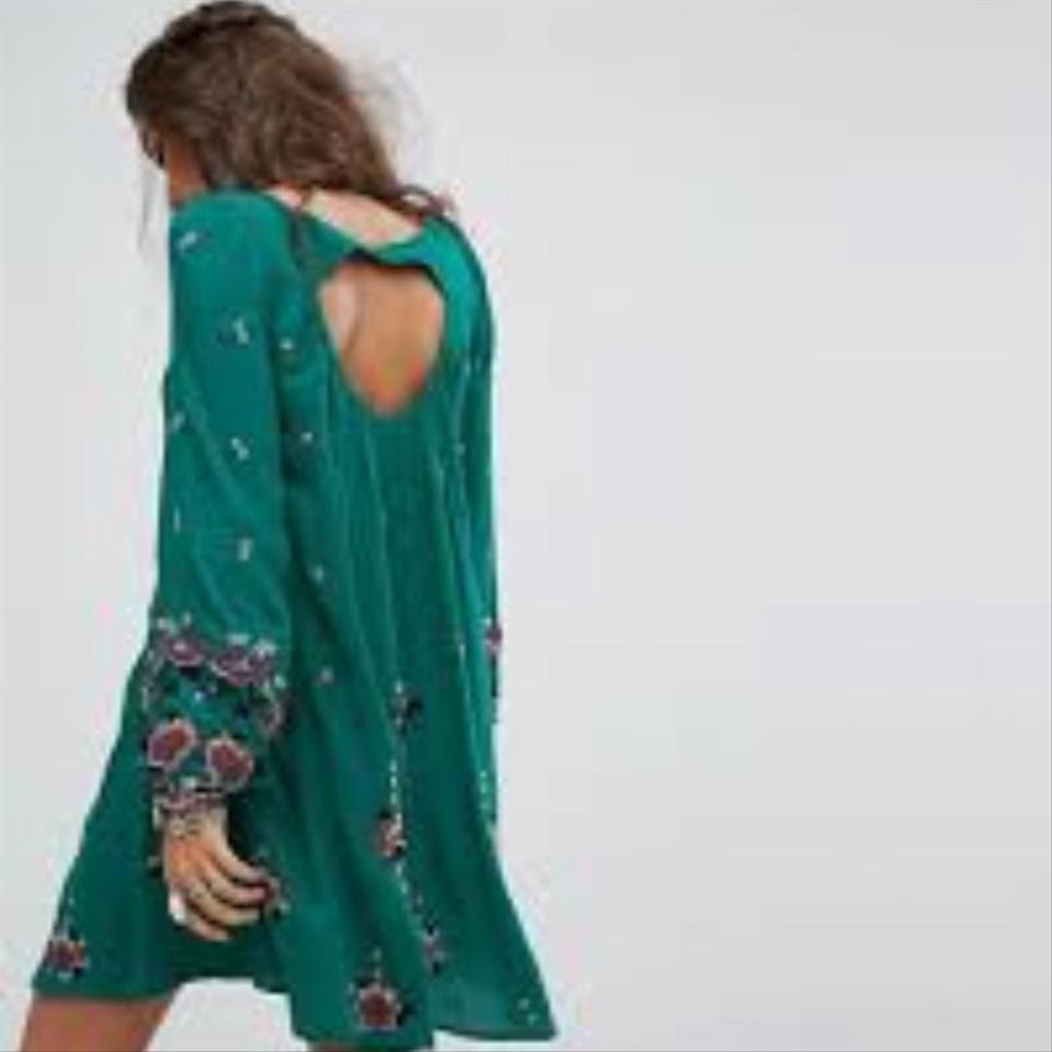 b0012418c7 Free People Green Oxford Embroidered Mini Night Out Dress Size 2 (XS) -  Tradesy