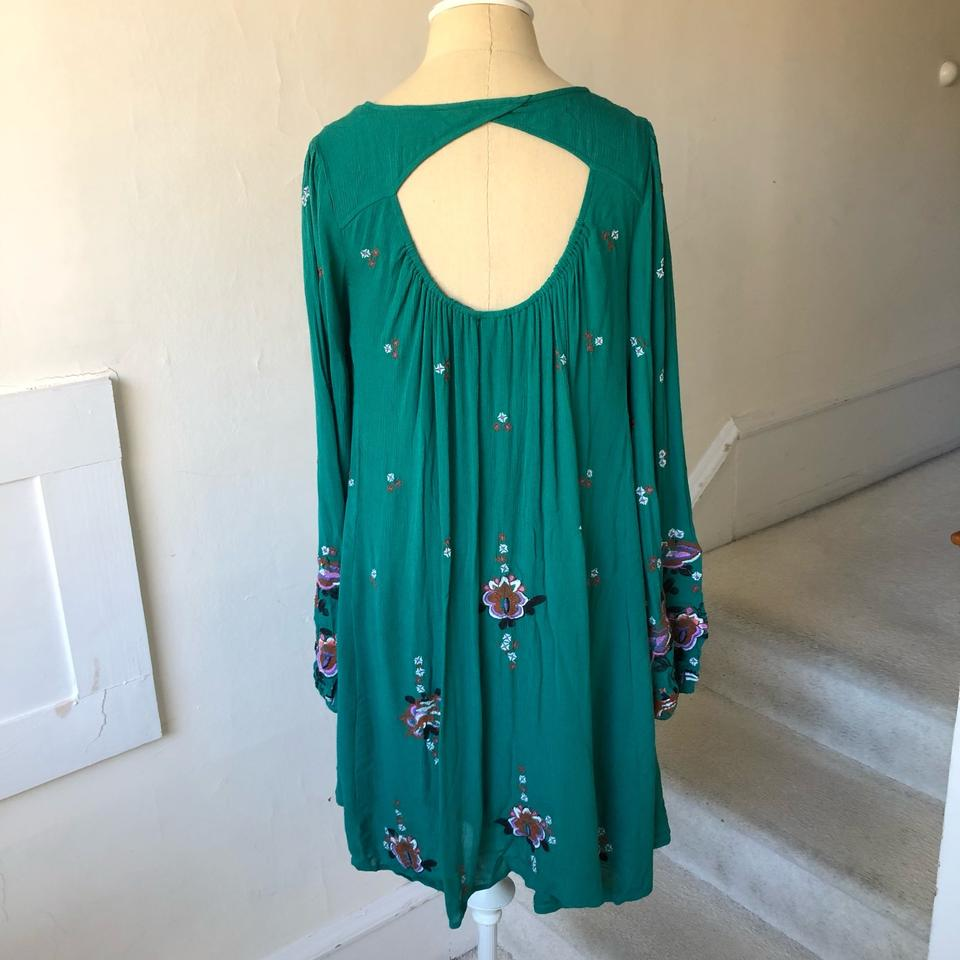 78f647337d Free People Green Oxford Embroidered Mini Night Out Dress Size 2 (XS ...