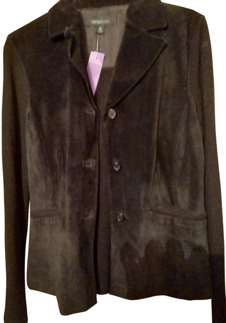 Item - Black Suede and Knit Combo Jacket Size 10 (M)