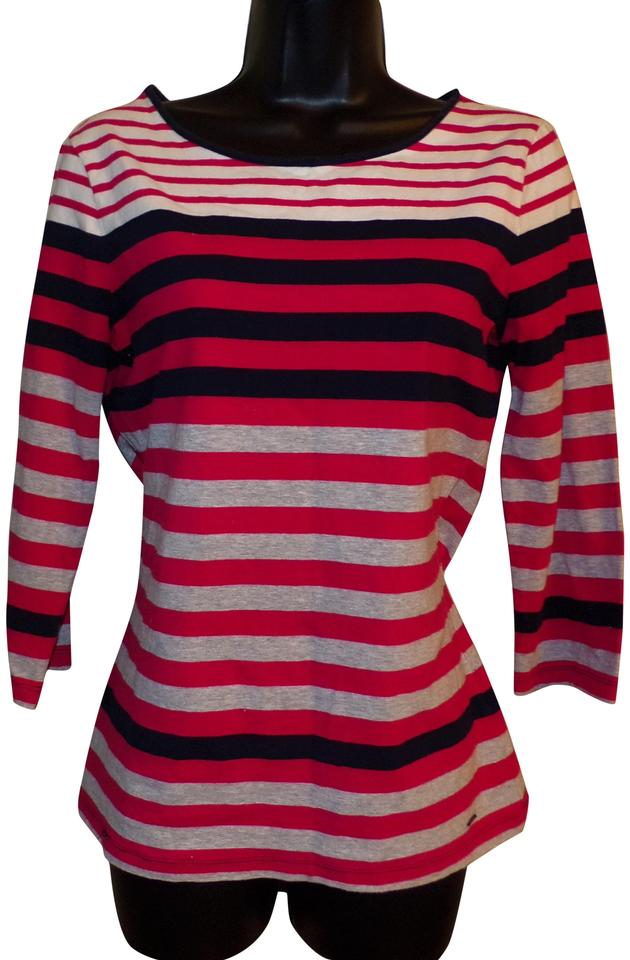 d3bd03c8 Tommy Hilfiger Striped Black White Red & Gray Sweater. Size: 4 ...