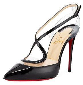 Christian Louboutin Pvc Clear Cross Strap black Pumps
