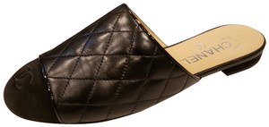 Chanel Quilted Mules Cap Toe Black Flats