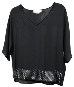 Michael Kors Studded Sparkle Silver Top black