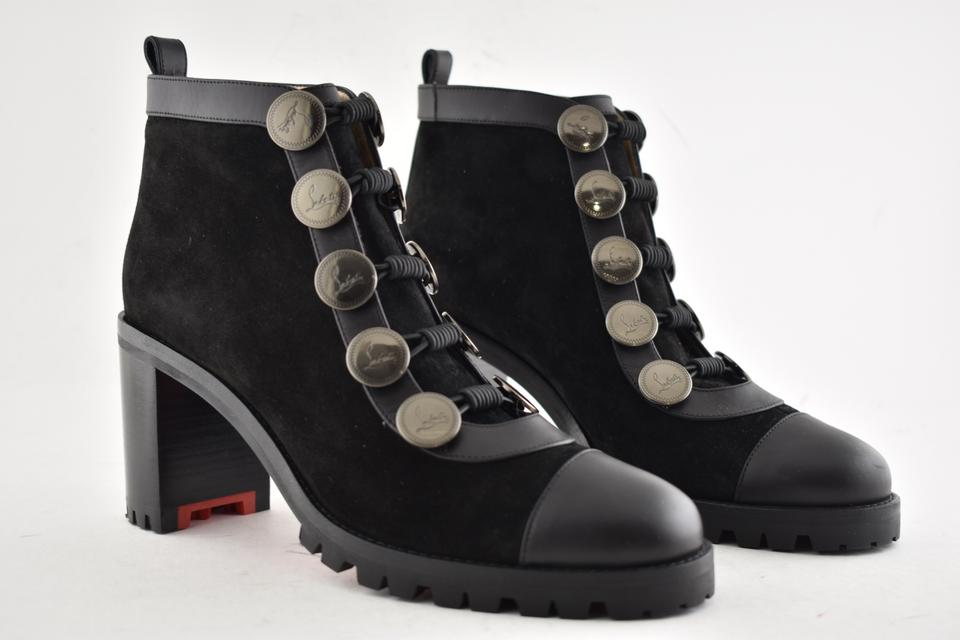 41c4b2876341 Christian Louboutin Black Alphabouton 70 Leather Suede Button Ankle Short  Heel Boots Booties Size EU 36.5 (Approx. US 6.5) Regular (M