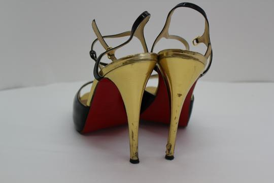 Christian Louboutin Ernesta Plateau Tstrap Black and Gold Pumps Image 3