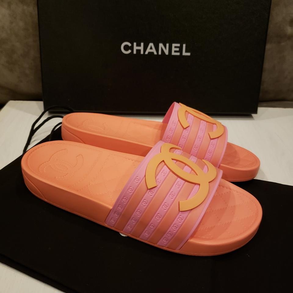 7a4eafed7175 Chanel Orange Pink 18p Two Tone Cc Rubber Flat Mule Pool Slides ...